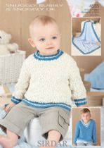 Sirdar Snuggly Bubbly - 4555 Sweaters and Blanket Knitting Pattern